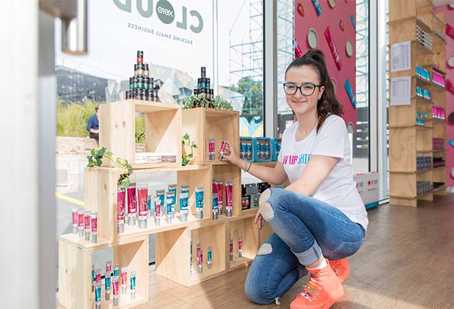 Izzy Dymalovski shows off her wares at the Xero Cloud Street pop-up
